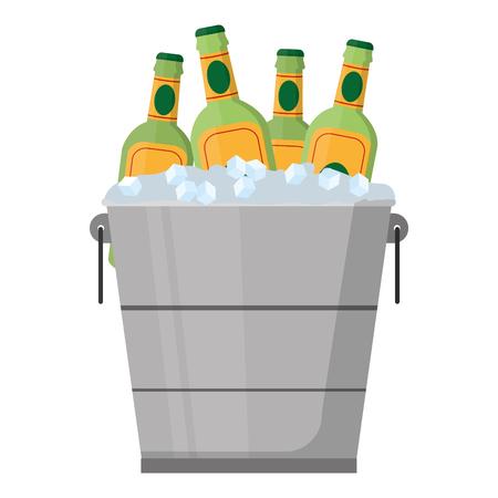 Illustration pour color liquor bottles inside bucket with ice cubes - image libre de droit