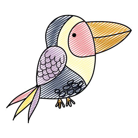 doodle cute exotic bird wild animal