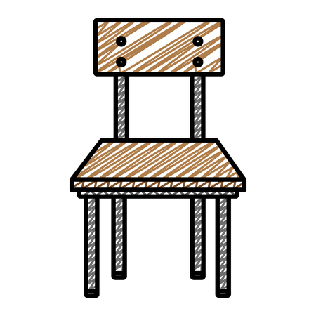 doodle front wood school chair education vector illustration