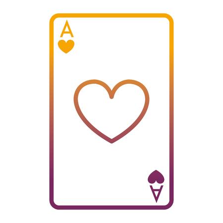 degraded line A of hearts poker card game vector illustration