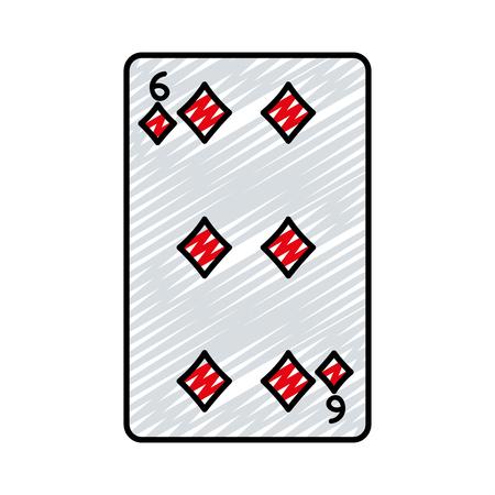 doodle six diamonds casino card game vector illustration