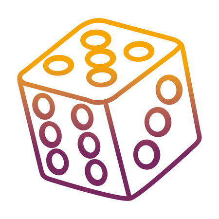 degraded line casino cube dice play numbers vector illustration
