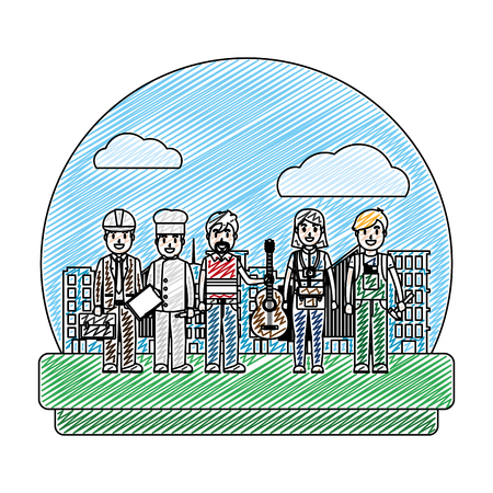doodle professional people carrer job in the city vector illustration