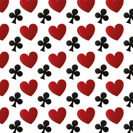 hearts and clovers card game background vector illustration