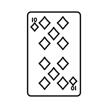 line ten diamonds casino card game vector illustration
