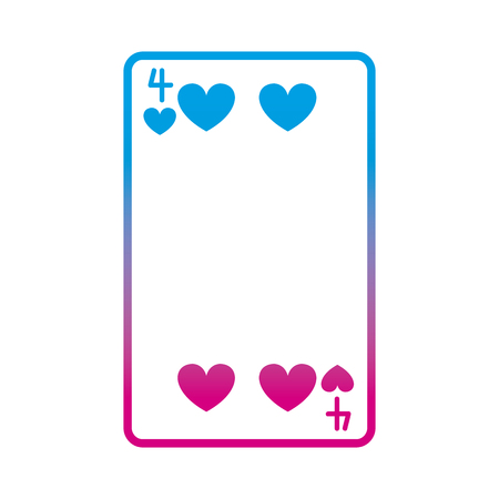 degraded line four hearts casino card game vector illustration