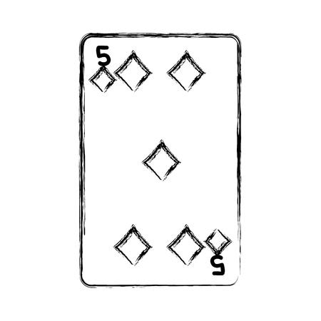 grunge five diamonds casino card game vector illustration