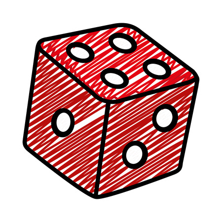 doodle casino dice cube game addiction vector illustration
