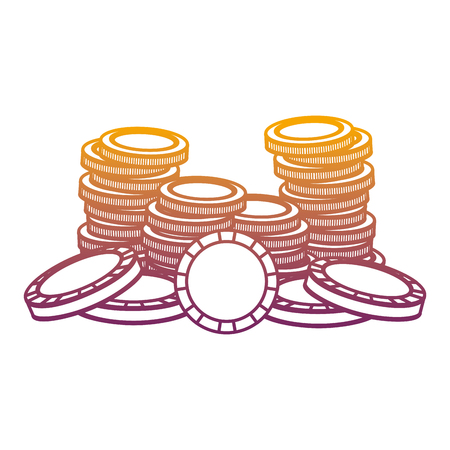degraded line casino gold coins and wagers opportunity vector illustration