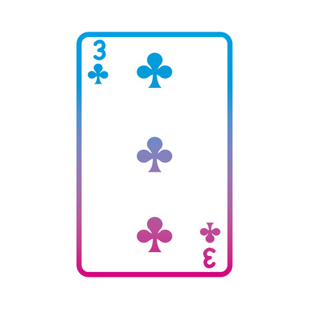 degraded line three clovers casino card game vector illustration