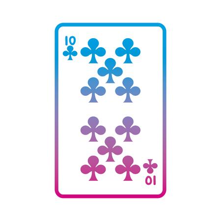 degraded line ten clovers casino card game vector illustration