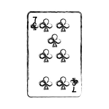grunge seven clovers casino card game vector illustration
