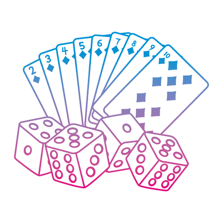 degraded line diamond poker cards and dices game vector illustration