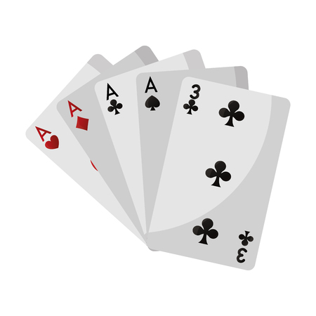 four of a kind casino card game vector illustration