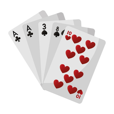 one pair casino card game vector illustration
