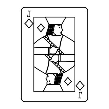 line jack diamond casino card game vector illustration