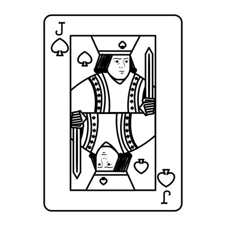 line jack spades casino card game vector illustration