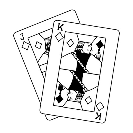 line jack and king diamonds cards casino game vector illustration