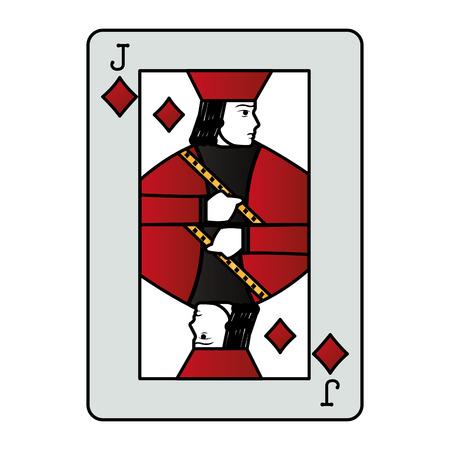 color jack diamond casino card game vector illustration