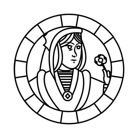 line queen symbol poker card game