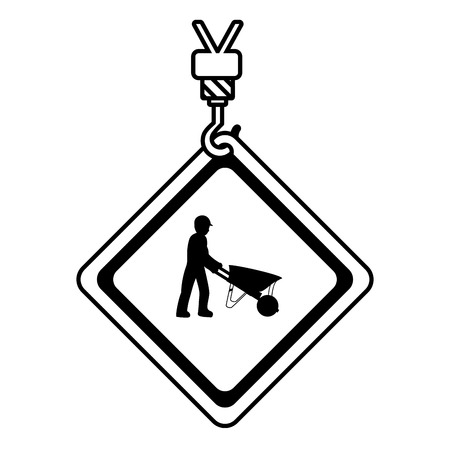 line caution diamond emblem with laborer and wheelbarrow vector illustration