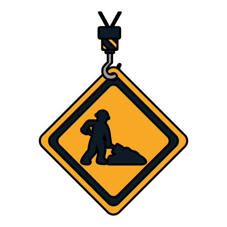 color caution diamond emblem with laborer and shovel vector illustration