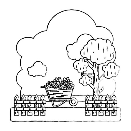 Illustration for grunge flowers inside wheelbarrow with trees and grillage farm vector illustration - Royalty Free Image