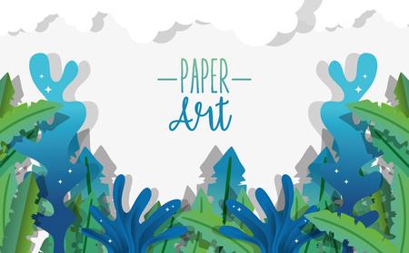Illustration pour Paper art undersea cute background with seaweed vector illustration graphic design - image libre de droit