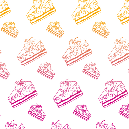 degraded line sweet delicious cake with starwberry background vector illustration
