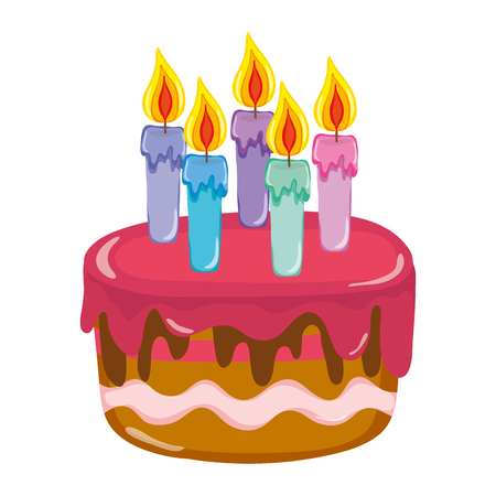 delicious cake with burning candles style vector illustration
