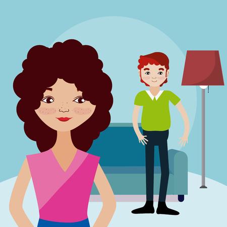 Illustration pour Cute couple living inside house cartoons vector illustration graphic design - image libre de droit