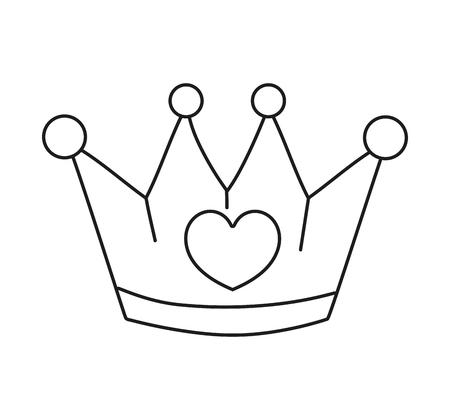 Illustration pour line metal crown luxury accessory with heart vector illustration - image libre de droit