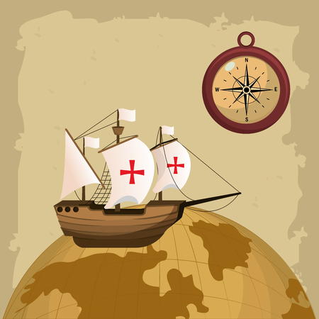Illustration pour Columbus day ship and compass on world globe vector illustration graphic dsign - image libre de droit