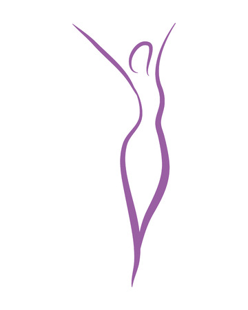 Ilustración de Woman silhouette yoga abstract leaves symbol vector illustration graphic design - Imagen libre de derechos