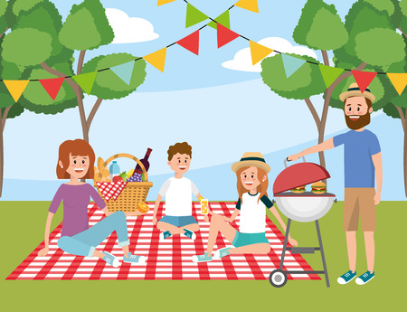 family in the tablecloth and fun picnic recreation with basket