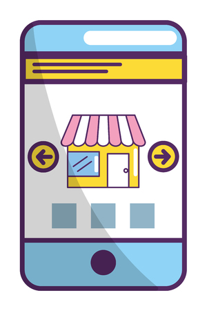 ecommerce online store in smartphone with selections arrows cartoon vector illustration graphic design