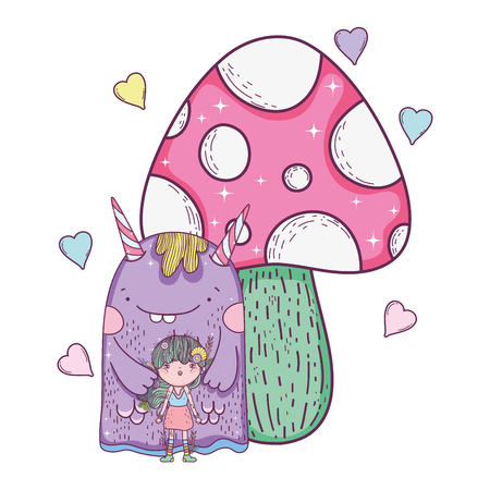 Illustration pour fairy and monster with fungus and hearts vector illustration design - image libre de droit