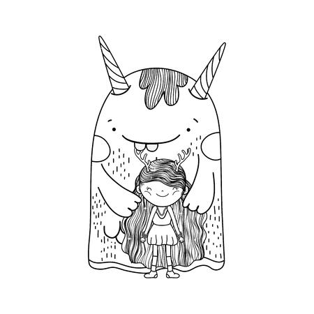 Illustration pour little fairy with monster characters vector illustration design - image libre de droit