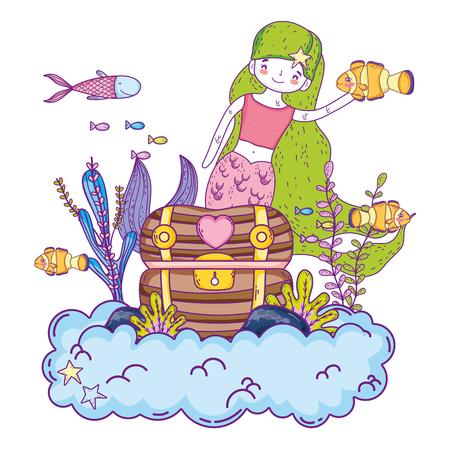 Illustration for mermaid with treasure chest undersea scene vector illustration design - Royalty Free Image