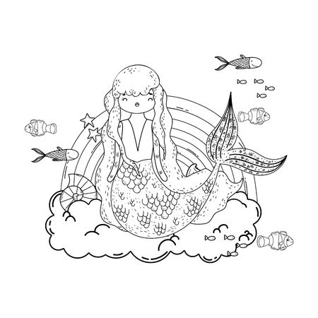 Illustration for cute mermaid with clouds and rainbow vector illustration design - Royalty Free Image
