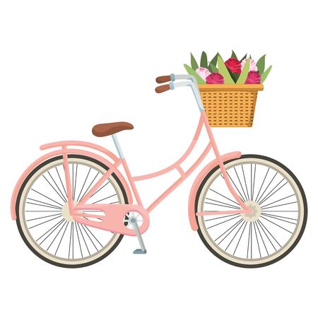 Illustration pour cute bicycle and basket with flowers cartoon vector illustration graphic design - image libre de droit