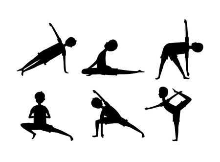 Illustration pour set man practice yoga exercise relaxation vector illustration - image libre de droit