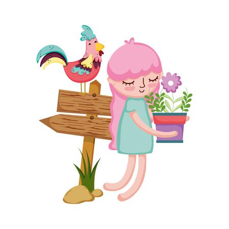 Ilustración de girl lifting houseplant with arrow signal and rooster vector illustration - Imagen libre de derechos