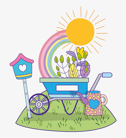 Illustration for flower with leaves plants in the spring and wheelbarrow vector illustration - Royalty Free Image