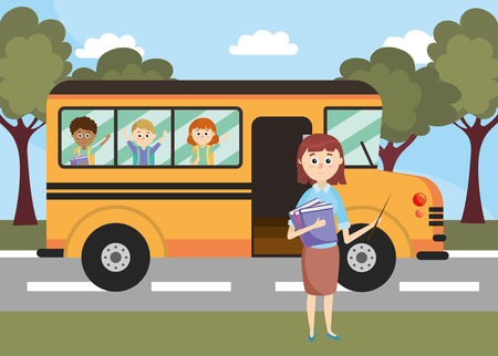 Illustration for school bus vehicle with teacher and students vector illustration - Royalty Free Image