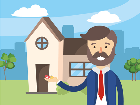 Vektor für real state agent cartoon vector illustration graphic design - Lizenzfreies Bild