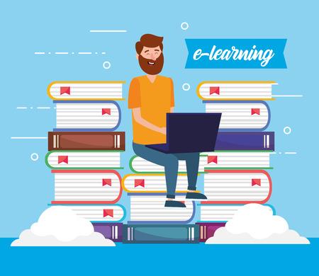 Illustration pour man with education books and laptop technology vector illustration - image libre de droit
