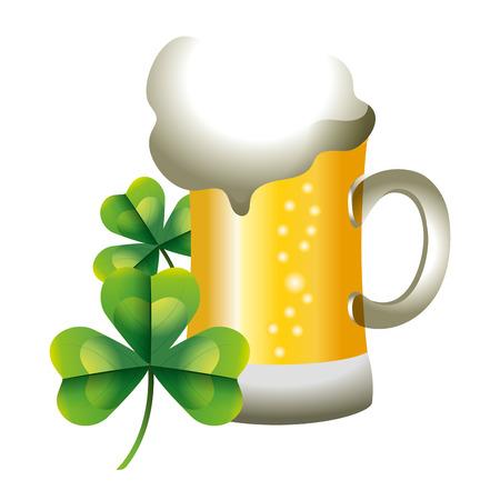 Illustration pour beer glass clover vector illustration - image libre de droit