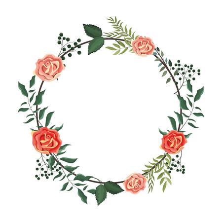 Illustration pour Spring floral frame with leaves and flowers vector illustration graphic design - image libre de droit