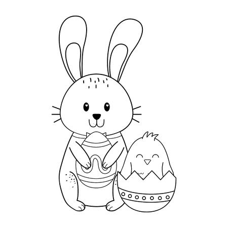 Illustration pour little rabbit with eggs painted easter character vector illustration design - image libre de droit